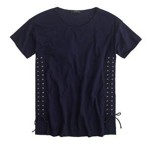 J.Crew Navy Blue Lace-up Tunic T-Shirt Size Large